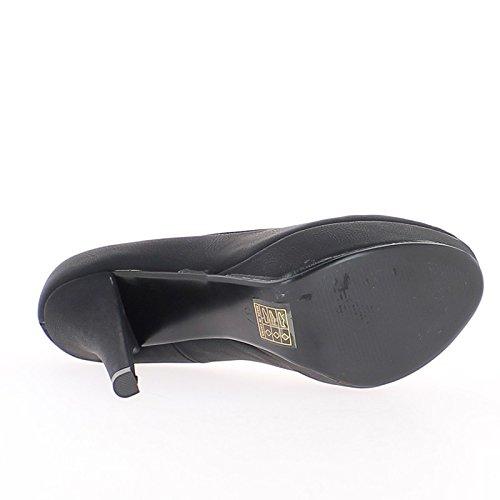 Negro mate retro tacones de plataforma 12cm y 3,5 cm