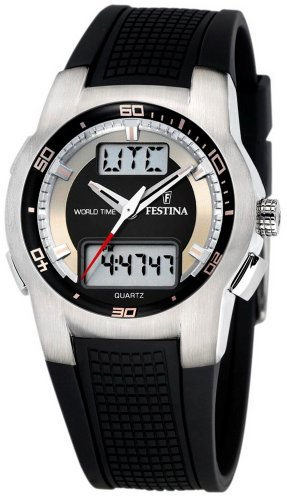 Amazon.com: Festina Mens Quartz Watch Sport World Time F6738/F with Rubber Strap: Watches