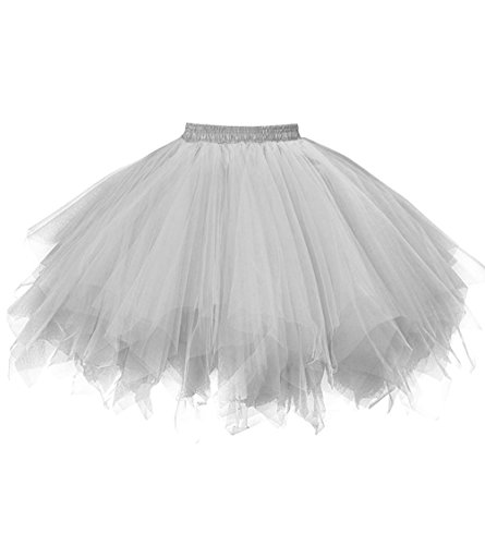 Dresstore Women's Short Vintage Petticoat Skirt Ballet Bubble Tutu Multi-colored Silver L/XL -