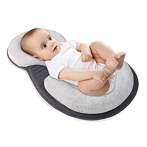 Baby Stereotypes Pillow Infant Newborn Anti Rollover Mattress Pillow for 0 12 Months Baby Sleep Positioning (Grey)