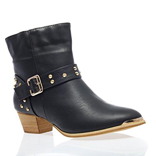 V-Luxury Womens 18-LINDA08 Closed Toe Cowboy Western Med Heel Ankle Booties, Black PU Leather, 6.5 B (M) US