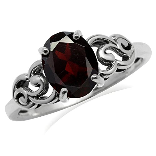 - 2.04ct. OV 9x7mm Natural Garnet 925 Sterling Silver Victorian Style Ring Size 6