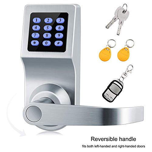 XINDA Smart Door Lock and Deadbolt in Satin Nickel with Keypad, RFID Card, Remote Control for Keyless Entry, Metal Keys Also Included, Ideal Digital Lock for Home, Office, Rentals and Hotels (Electronic Deadbolt Remote)