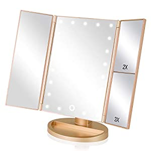 Best Epic Trends 41OkJP5K8bL._SS300_ EASEHOLD Makeup Mirror with Lights 21 LEDs Lighted Vanity Mirror 2X 3X Magnifying 180 Degree Adjustable Desk Mirror with…