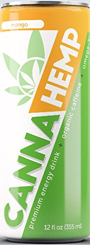 Canna Hemp Energy Drink – Mango – 12 Pack – Organic Energy – Omega-3s – All Natural Flavors, Colors and Sweeteners – 50 mg of REAL Hemp Seed oil – Vegan & Gluten Free – Damn Tasty!!
