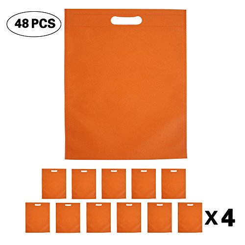 Set of 48 Promotional Nonwoven Heat Seal Reusable Tote Party Favors Bag, Goodie Bags, Gift Bags Bulk with Die Cut Handles -
