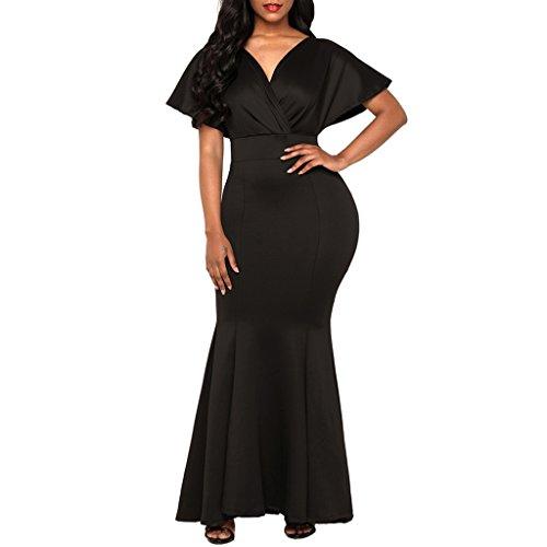 s Cena Noche Vestido Fiesta Dama Nocturna de Baoblaze Ropa Novia Mujeres Club Maxi Honor negro UPqx6