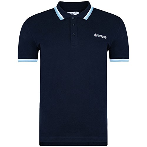 - Lambretta Mens Target Triple Tipped Pique Polo Shirt- NVY/Teal - M