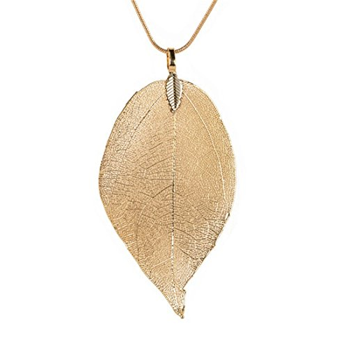 Edtoy Leaves Long Necklace Leaf Sweater Chain Pendant Fashion Accessories (Gold)