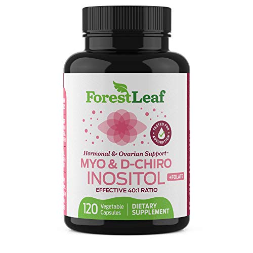 Myo and D-Chiro Inositol Supplement Blend with Folate - Hormone Balance, Ovulation and Ovarian Support for Women - Hair Growth, Weight Management, Fertility and Pregnancy Health - 120 Capsules