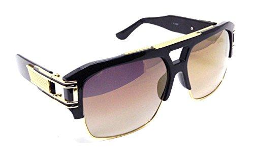 Gazelle B-Boy Square Metal & Plastic Retro Aviator Sunglasses (Black & Gold Frame, Gold Flash - Gazelle Sunglasses