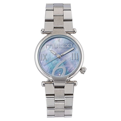 Mulco Mini Metal Watch- Authentic Blue Mother Pearl Dial- All Silver Stainless Steel- Swarovski crystals- Quartz Movement- Water Resistant- Women's Fashion MW5-5191-221
