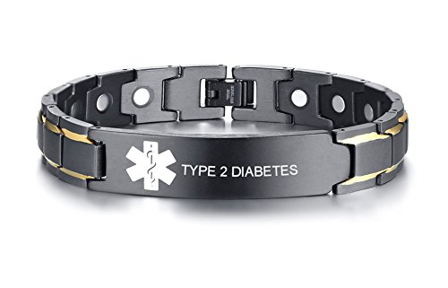 VNOX 12MM Stainless Steel Medical Alert ID Magnetic Two Tone Adjustable Therapy Bracelet,Type 2 Diabetes