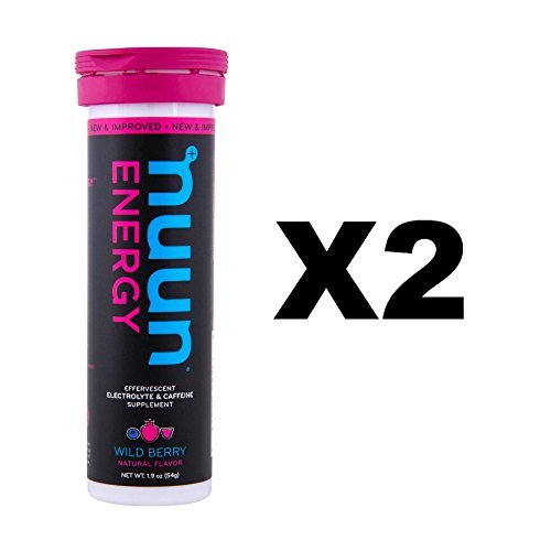 Nuun Energy: Wild Berry Electrolyte +Caffeine Drink Tablets (2 Tubes of 10 Tabs)