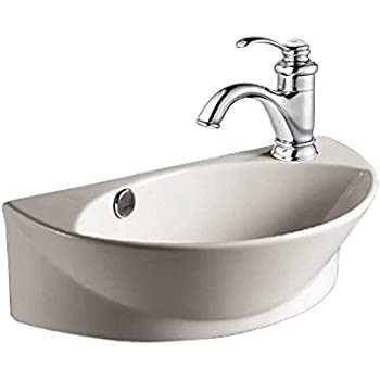 small white wall mount bathroom vessel sink with single faucet hole overflow supply