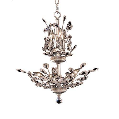 Elegant Lighting 2011D21C/EC Cut Clear Crystal Orchid 8-Light, Two-Tier Crystal Chandelier, 21