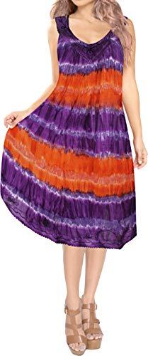 Dye Dress Heart Tie - LA LEELA Rayon Tie Dye Halter Hawaiian Dresses Tank Skirt Purple 567 One Size