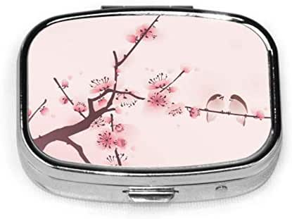 Pill Organizer Case, Oriental Style Painting Cherry Blossom Spring Portable Pill Box Small Pill Container for Purse Or Pocket, Square Pill Box (2 Compartment)