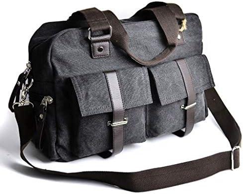 大容量の多目的屋外のトラベルバッグメンズ多目的キャンバスクロスボディレジャースポーツフィットネスバッグ多目的ポケットデザインブラック、グレー HMMSP (Color : Black)