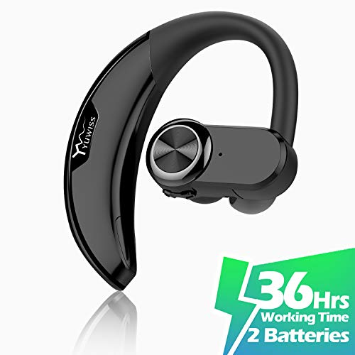 YUWISS Bluetooth Headset [36Hrs Playtime, 2 Batteries, V4.2] Wireless Bluetooth Earpiece for Cell Phone Noise Canceling Car Earbuds Headphones with Mic Compatible with iPhone Samsung Android (Black)