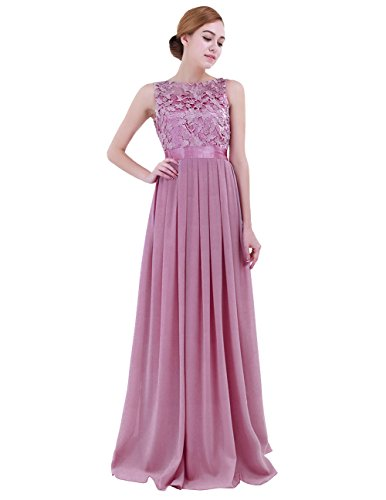 - iEFiEL Summer Wedding Floral Lace Crochet Bridesmaid Chiffon Dress Evening Gown Plum 12