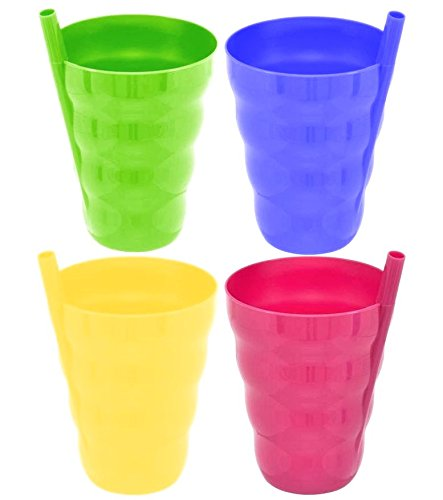 Green Direct Cup With Straw 10 Oz Plastic Cup with Built in Straw for Kids Assorted Colors (Pack of 4) GD-SAC4