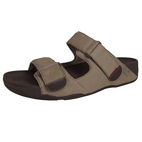 FitFlop Mens Gogh Moc Slide Adjustable Leather Sandal Shoes, Timberwolf, US 11