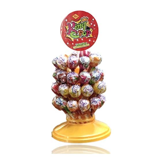 ALKAS King Pop Lollipop ( 15 GMS x 50 pcs ) Stand Lollipop Assorted Fruit Flavoured pops