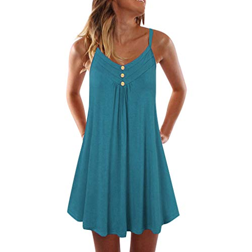 Dresses for Womens,Sunyastor Sleeveless Plus Size Casual Dress Women Spaghetti Strap Double Breasted Plain Shift Dresses Green