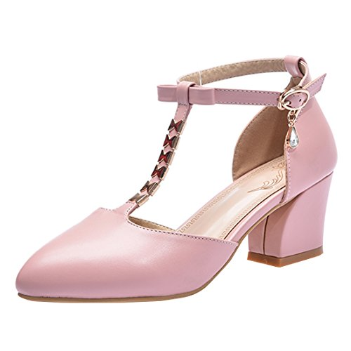 YE Damen T Spangen Pumps Chunky Heels Spitze Riemchen High Heels mit Schleife und Blockabsatz 6cm Bequem Schuhe Rosa