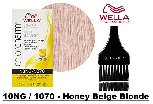 - Wella COLOR CHARM PERMANENT Liquid Haircolor Dye (w/Sleek Tint Brush) Excellent Gray Coverage, Floral Fragrance, 1:2 Mix Ratio Hair Color (10NG / 1070 - Honey Beige Blonde)