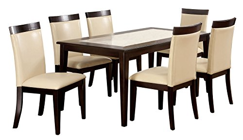 Furniture of America Vinia 7-Piece Dining Table Set with Faux Marble Top, Espresso Finish (Tile Top Dining Set)