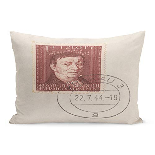 Emvency Throw Pillow Covers Germany Circa 1944 Stamp Printed in Deutsches Reich General Pillow Case Cushion Cover Lumbar Pillowcase Decoration for Couch Sofa Bedding Car Home Decor 20 x 36 inchs