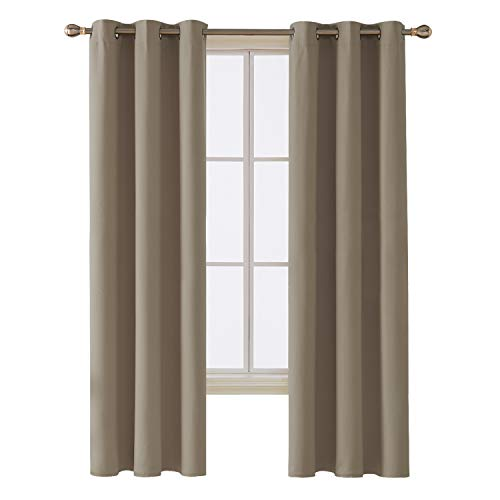 Room Darkening Thermal Insulated Blackout Grommet Window Curtain for Bedroom, Khaki,42x84-inch,1 Panel