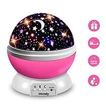 Moredig Lampara Proyector Infantil, 360° Rotación y 8 Modos Iluminación Proyector Estrellas, Luz de Nocturna para Niños y