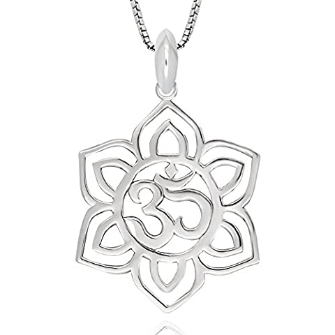 925 Sterling Silver Yoga Om Aum Ohm Symbol and Lotus Flower Pendant Necklace, 18