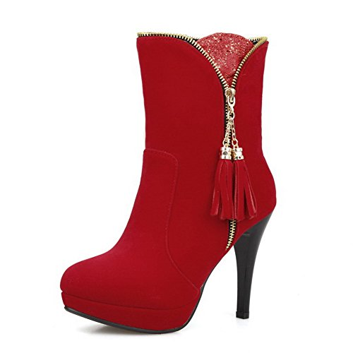 and Platform Frosted Boots PU Women's Red High Allhqfashion with Heels Zippers Rqf8zwTx