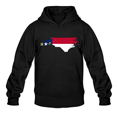 Flag Map Of North Carolina Cool 100% Cotton Black Long Sleeve Sweatshirts For Men Size M