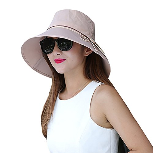 Sun Summer Hat Wide Brim for Women Foldable UPF 50+ Kaimao Beach Cap 56-58cm - Khaki