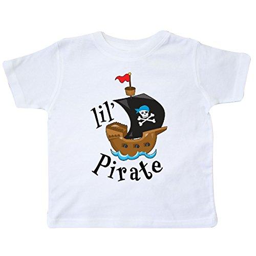 inktastic - Lil' Pirate Pirate Ship, Blue Bandana Toddler T-Shirt 2T White 2a4d7 -