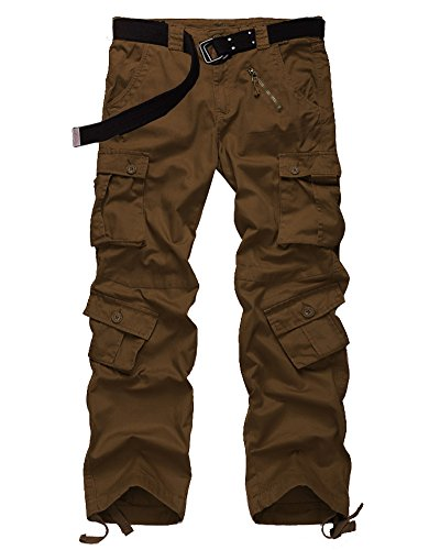 Men's Casual Military Pants, Camo Tactical Wild Combat Cargo ACU/BDU Rip Stop Trousers with 8 Pockets #7533-Rust - Summer Cotton Pants