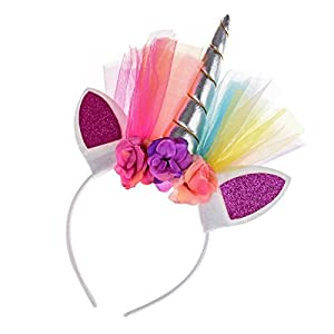 Floral Fall Rainbow Unicorn Horn Headband Girl Birthday Crown Headpiece DJ-03