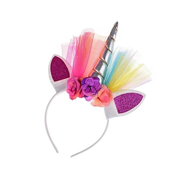 Floral Fall Rainbow Unicorn Horn Headband Girl Birthday Crown Headpiece DJ-03 2