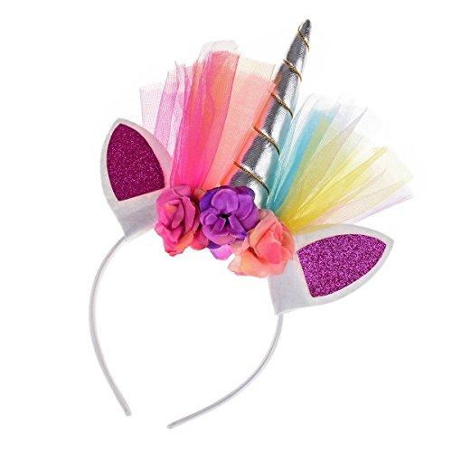 Floral Fall Rainbow Unicorn Horn Headband Girl Birthday Crown Headpiece DJ-03