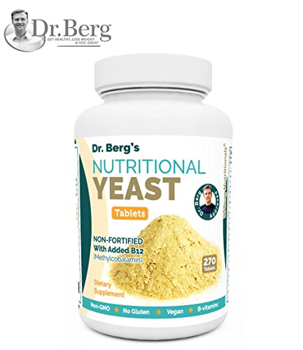 Nutritional Yeast Tablets - Non-Fortified - B-Vitamin Complex - Natural B12 Added - 270 Tablets - No Gluten - Vegan - Non-GMO - Non Synthetics