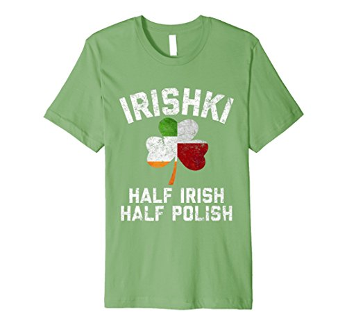 IRISHKI Half Irish Half Polish Shamrock Flag Fitted T-Shirt