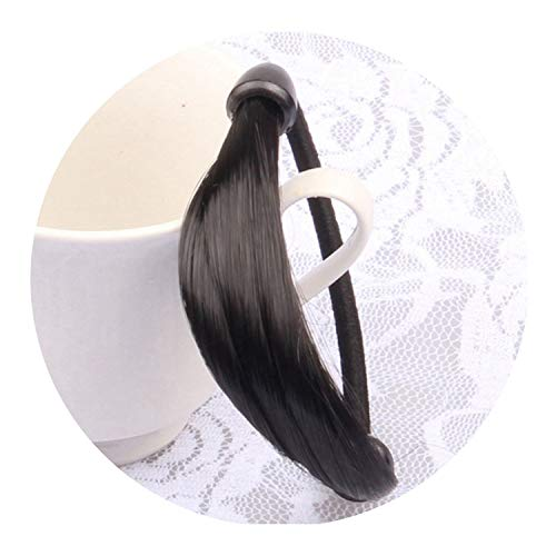 Coffee Saucer Bond (Women Straight Wig Elastic Hair Band Rope Ponytail Holder,BK)