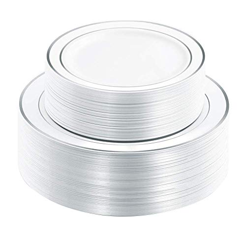 102 Pieces Silver Plastic Plates, White Disposable Plates, China Like Design Silver Plates Includes: 51 Dinner Plates 10.25 Inch and 51 Salad/Dessert Plates 7.5 Inch -