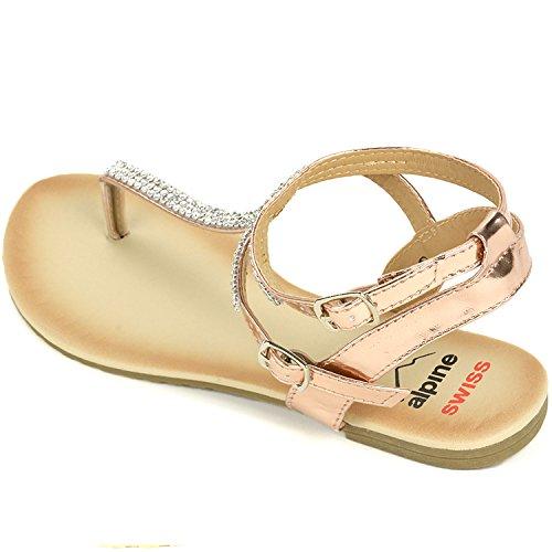 584f9ec341d3f7 Alpine Swiss Womens Slingback T-Strap Rhinestone Ankle Strap Thong Sandals  85%OFF