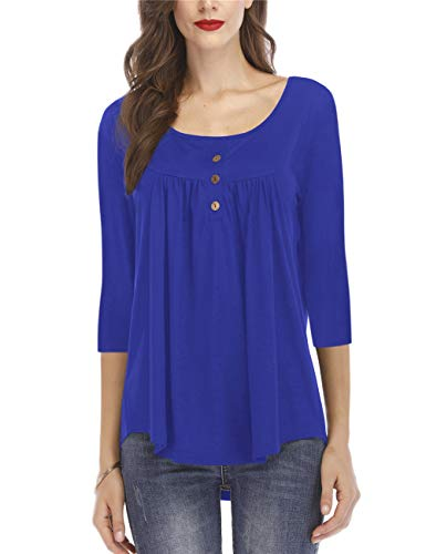 Women's Casual Tops and Blouses Pleat 3/4 Sleeve Buttons Tunic Shirts Blue M 3/4 Sleeve Pleats Blouse